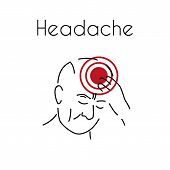 Headache Linear Icon. Vector Abstract Minimal Illustration Of Old Man With Red Spot On His Head Suff poster