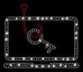 Glossy Mesh Laptop Key Phishing With Glare Effect. Abstract Illuminated Model Of Laptop Key Phishing poster