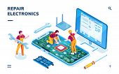Isometric Page For Electronics Repair Service. Worker With Wrench And Serviceman Repairing Smartphon poster