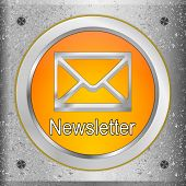 Orange Newsletter Button On A Metal Plate - 3d Illustration poster