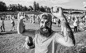 Visit Summer Festival. Summer Fest. Hipster In Cap Happy Celebrate Event Fest Or Festival. Man Beard poster
