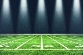 Football Stadium With White Lines Marking The Pitch. Perspective Of Football Field. Perspective Elem poster