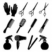 12 Black And White Hairdresser Tools. Beauty Salon Equipment. Hair Dresser Themed Vector Illustratio poster