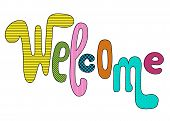 Welcome Playful Vector Inscription With Colorful Textures On White Background. Playful Handwriting F poster