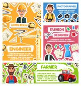 Professions And Occupations Of Building Engineer, Farmer, Photographer And Fashion Designer Vector D poster