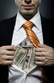 stock photo of plunder  - venality businessman or banker in black costume throw open one - JPG