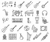 Music Thin Line Icons Of Musical Instruments And Sound Equipment Vector Design. Microphone, Piano An poster