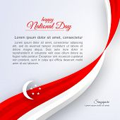 Poster Happy National Day Singapore Curved Ribbon Red White Lines On A Light Background Patriotic Ce poster