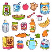 Baby Food Child Healthy Nutrition Vegetable Mashed Puree In Jar And Fresh Juice With Fruits Bananas  poster