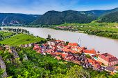 Wachau Valley, Austria. The Medieval Town Of Durnstein Along The Danube River. poster