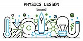 Physics Lesson Banner. Outline Illustration Of Physics Lesson Vector Banner For Web Design poster