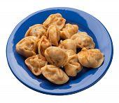 Dumplings On A Blue Plate Isolated On White Background. Dumplings In Tomato Sauce. Dumplings Top Sid poster