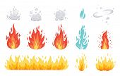 Fire Flame Vector Icons In Cartoon Style. Flames Of Different Shapes. Fireball Set, Flaming Symbols. poster