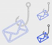 Mesh Mail Phishing Hook Model With Triangle Mosaic Icon. Wire Carcass Triangular Mesh Of Mail Phishi poster
