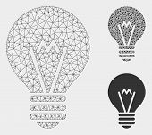 Mesh Hint Bulb Model With Triangle Mosaic Icon. Wire Carcass Polygonal Mesh Of Hint Bulb. Vector Com poster