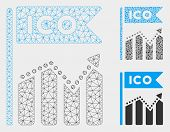Mesh Ico Chart Model With Triangle Mosaic Icon. Wire Carcass Polygonal Mesh Of Ico Chart. Vector Col poster