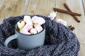 Cup Of Hot Cocoa With Marshmallows, Woolen Warm Scarf, Cozy Winter Evening poster