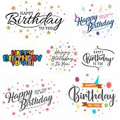 Set Of Letter Happy Birthday Vector For Element Design On The White Background. Collection Of Letter poster