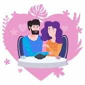 Loving Couple Is Drinking Tea In Cafe. A Man And A Woman In Love On Date Are Sitting At A Table. Lov poster