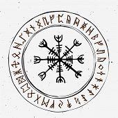 Futhark Norse Islandic And Viking Runes Set. Magic Hand Draw Symbols As Scripted Talismans. Vector S poster