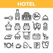 Hotel Accommodation, Room Amenities Vector Linear Icons Set. Hostel Services And Possibilities, All  poster