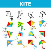 Colorful And Fun Kites Vector Linear Icons Set. Childhood Pastime, Game For Children. Summertime Out poster