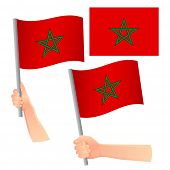 Morocco Flag In Hand. Patriotic Background. National Flag Of Morocco Vector Illustration poster