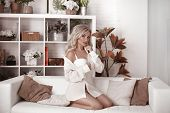 Sexy Blonde Bride Portrait In White Shirt And Lingerie. Beautiful Fashion Blond Woman Model In Moder poster