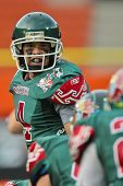 VIENNA, AUSTRIA - JULY 15: QB Rodrigo Perez (#4 Mexico) audibles at the Football World Championship