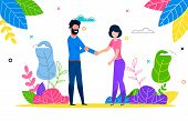 Happy Young Couple In Love Man And Woman On Walk. Husband And Wife Walking In Open Air On Hot Summer poster