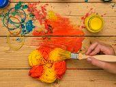 Application Of Paint In The Style Of Tie Dye Yellow And Green Colors. Staining Fabric In Tie Dye Sty poster