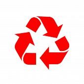 Recycle Symbol Red Isolated On White Background, Red Ecology Icon Sign, Red Arrow Shape For Recycle  poster