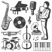 Vintage Jazz Music Elements Collection With Musician Saxophone Piano Drums Microphone Gramophone Vio poster