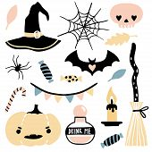 Cute Vector Set With Halloween Illustrations. Cute And Funny Cartoon Objects: Pumpkin, Bat, Sweets,  poster