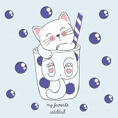 Vector Illustration Of Cute Kawaii Hand Drawn Cat In Anime Style In A Glass Of Blueberries Cocktail  poster
