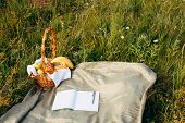 Close-up Of Diary And Pen Lying On The Grass. Romanticism, Their Thought. The Concept Of Writing A D poster