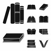 Bitmap Design Of Library And Textbook Logo. Set Of Library And School Bitmap Icon For Stock. poster