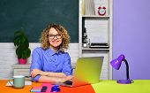 Teacher In Classroom. Young Happy Student. Female Student Thinks About Coursework In University. Stu poster