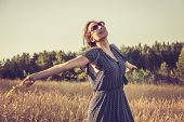 Beautiful Running In Meadow In Vacation. Beautiful Woman Running In Meadow In Summer Vacation. Happy poster