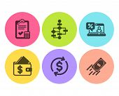Wallet, Usd Exchange And Accounting Checklist Icons Simple Set. Block Diagram, Online Loan And Fast  poster
