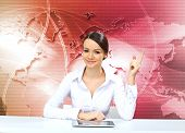 Young businesswoman making presentation