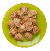Dumplings On A Lime Plate Isolated On White Background. Dumplings In Tomato Sauce. Dumplings Top Vie poster