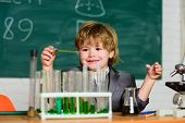 Kid Study Chemistry. Biotechnology And Pharmacy. Genius Pupil. Education Concept. Wunderkind Experim poster