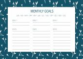 Monthly Goals Template. Vector Illustration. Hand Drawn Floral Texture. Abstract Flowers.  Printable poster