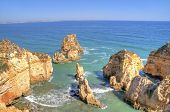 stock photo of lagos  - Beautiful southcoast near Lagos in the Algarve Portugal - JPG