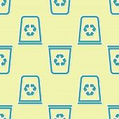 Green Recycle Bin With Recycle Symbol Icon Isolated Seamless Pattern On Yellow Background. Trash Can poster