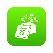 Box Discounts On Twenty Fifth Of November Icon. Simple Illustration Of Box Discounts On Twenty Fifth poster