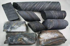 pic of ore lead  - Diamond drill core samples from the Homestake Gold Mine at Lead - JPG