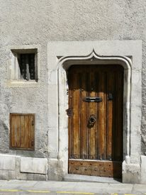 image of poitiers  - Old medival doorway with carved lintel in Poitiers - JPG