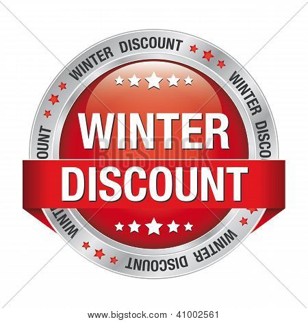 Winter Discount Button Red Silver